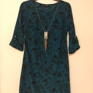 Print Dress with Gold Necklace